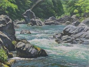 油絵#12「御岳渓谷」F6号