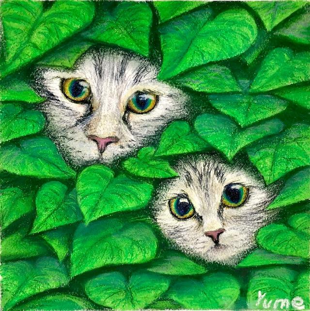 絵画 絵 ピクチャー 縁起画 モダン シェアハウス アートパネル アート art 14cm×14cm 一人暮らし 送料無料 インテリア 雑貨 壁掛け 置物 おしゃれ 猫 親子 動物 パステルアート ロココロ 画家 : ゆめの 作品 : 猫の親子
