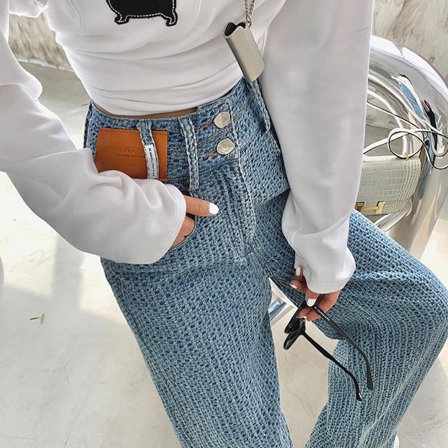 ワッフル織ワイドレッグストレートジーンズ 3色 【P0913】 大きいサイズあり