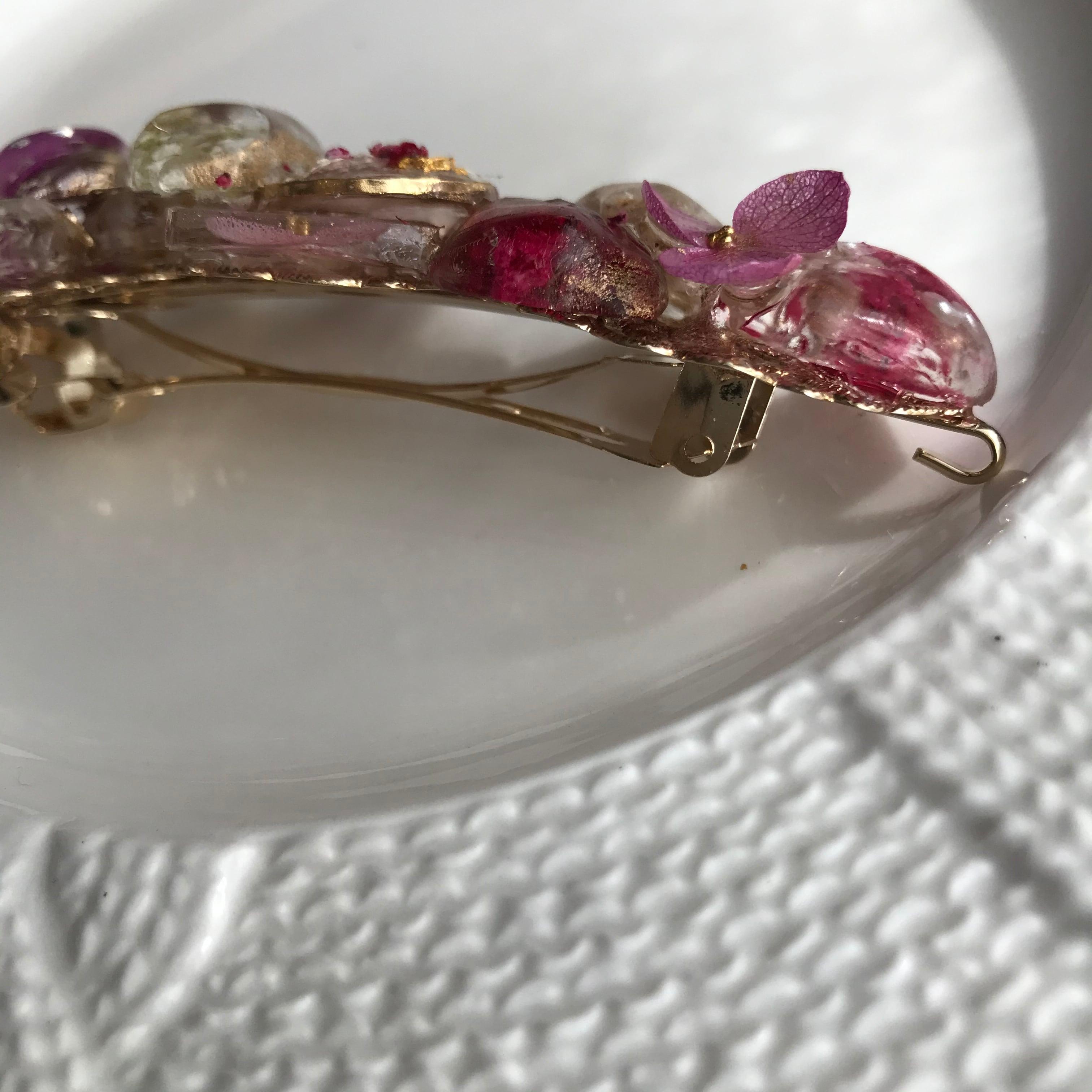 本物のお花の透明感❗️ピンクバレッタマスクアクセサリー兼用