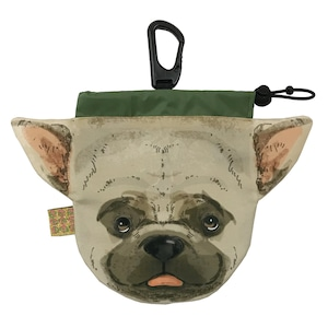 犬のウンチバッグ M【フレンチブル】(茶色 x クリーム色) 防臭生地 / デオドラント加工布使用