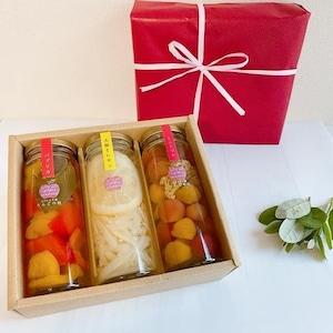 誕生日の贈り物に!カラダに優しいギフト!3本選べる野菜・果物のピクルス