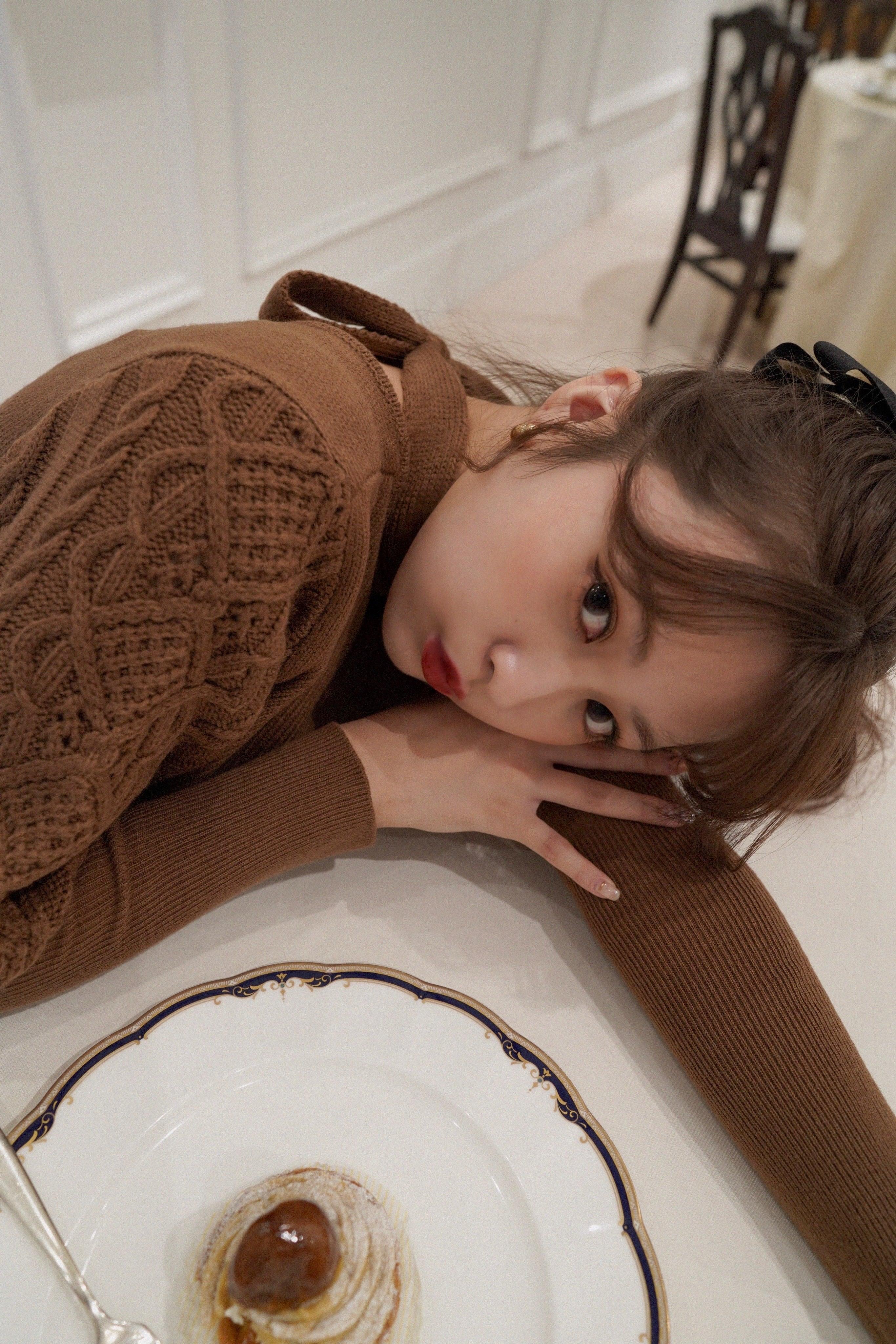 Désir original 2way ribbon balloon knit tops