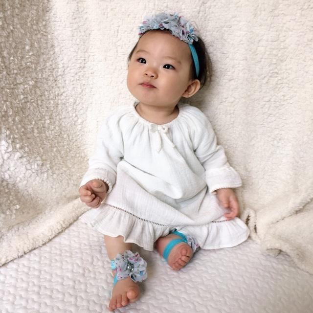 小花柄フラワー × パール&ビジュー ベアフットサンダル(ライトブルー)ベビー用 足飾り