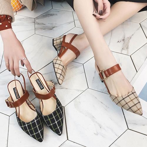 チェック柄 サンダル ポインテッドトゥ アンクルストラップ チャンキーヒール 6cm 韓国ファッション レディース ストラップ パンプス 痛くない かわいい 靴 歩きやすい 566612229385