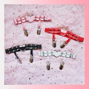 【お取り寄せ】【ピンク1点即納】ハート レッグガーターベルト 4色