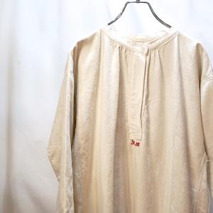 【VINTAGE】フレンチリネン ワンピース ロングシャツ 刺繍入り