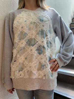【NIGATSU】刺繍デニムスウェットトップス