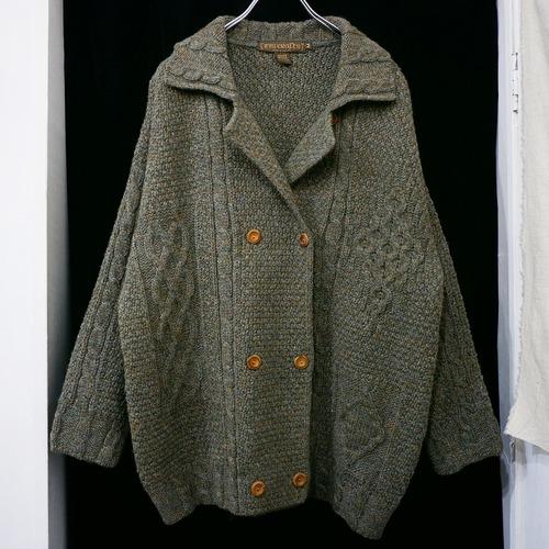 アメリカ古着 アイルランド製 ダブルブレスト ニットジャケット
