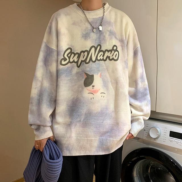 【メンズファッション】人気を独占中 韓国の人気爆発 アルファベット 韓国系 キュート ラウンドネック メンズセーター53915021