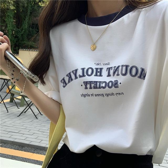 ツートンカラーレタープリントTシャツ S4416