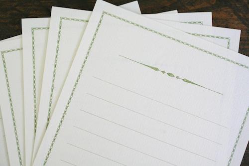 装飾罫線 Mini Stationery Paper  all Antique-52- 【ティーグリーン】