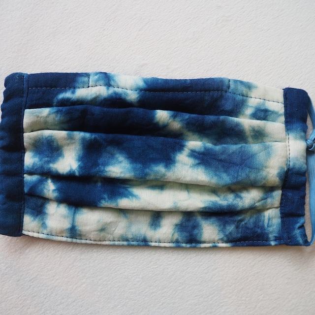 藍染めガーゼ 5 層仕立て 快適サラサラプリーツマスク(むらくも染め)