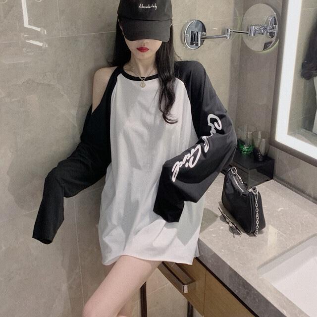 【トップス】カジュアルアルファベットプリントシンプル長袖流行り透かし彫りTシャツ42907337