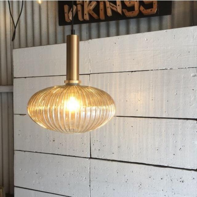 TOPANGA Lighting アンバーガラス ペンダントランプ オーバル