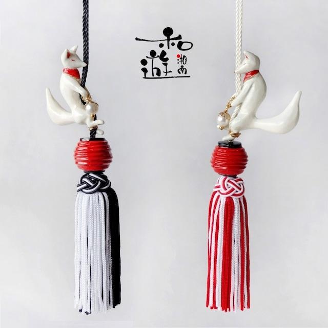 お守り提灯狐(きつねの帯飾り兼傘チャーム)/紅白、黒白