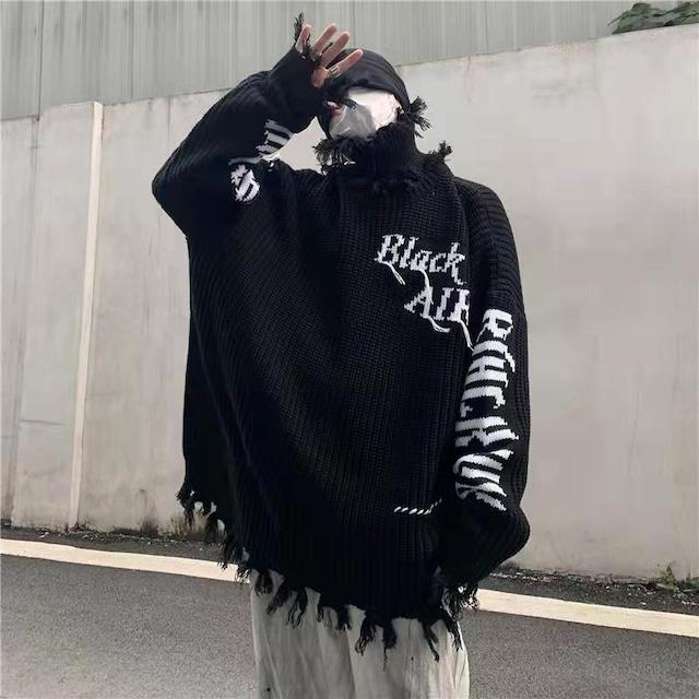 【トップス】男女兼用個性的アルファベット暗黒系ハイネックセーター52331454