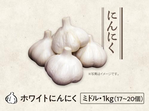 【21】にんにく ミドル・1kg(14〜20個)
