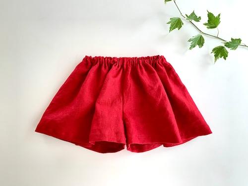 リネンのキュロットスカート 赤 90cm