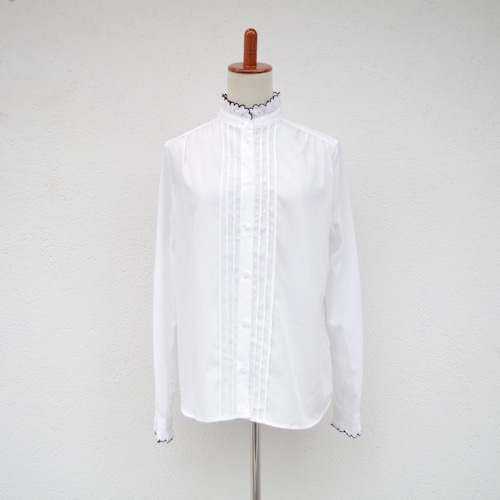 SINME  スカラエンブロイダリーシャツ  ホワイト×ブラック