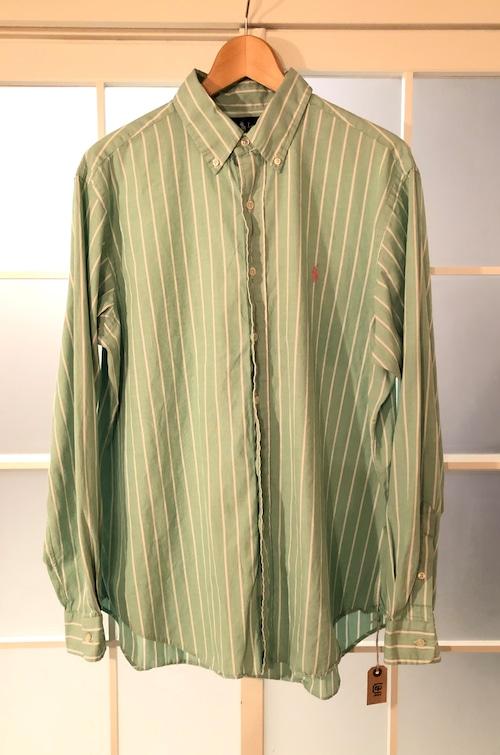 Ralph Lauren Pale Green x White Stripe Shirts