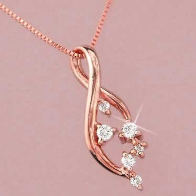 ダイヤモンド ネックレス 18金ピンクゴールド k18pg 天然ダイヤモンド レディース
