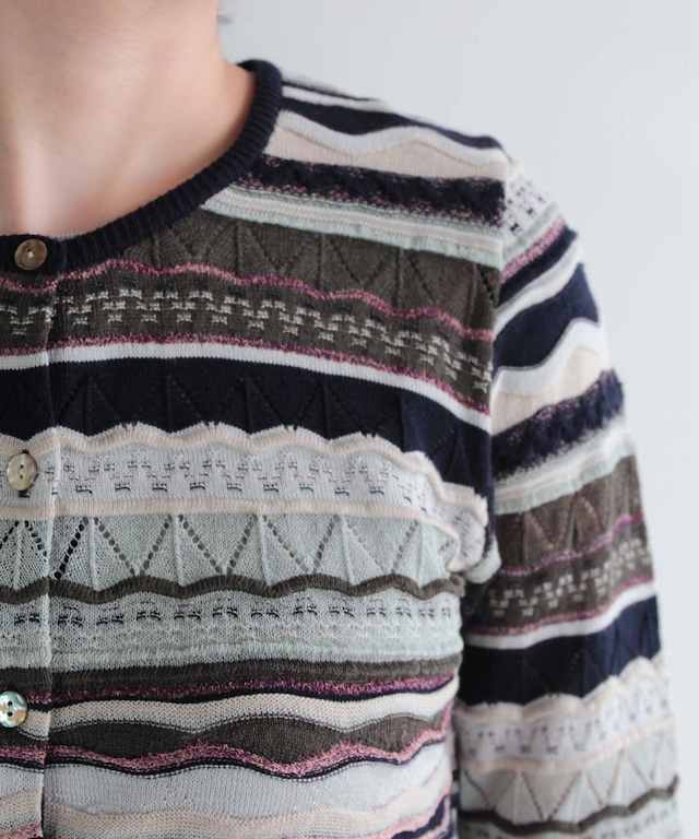 模様編みのコットンシルクカーディガン(ev1501404 NVY  size02)