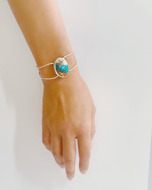 oyster copper turquoise bangle  /  on the beach       OBH-008