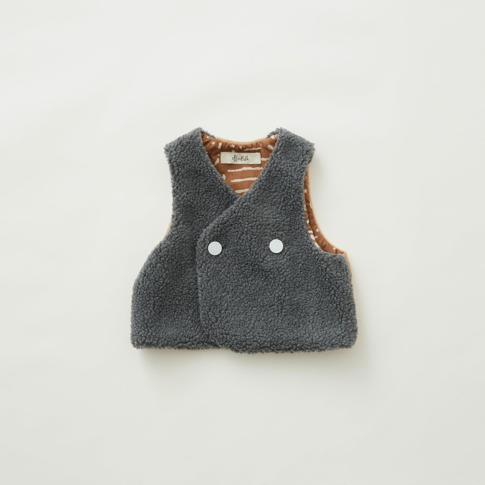 《eLfinFolk 2021AW》Sheep boa  baby vest / gray