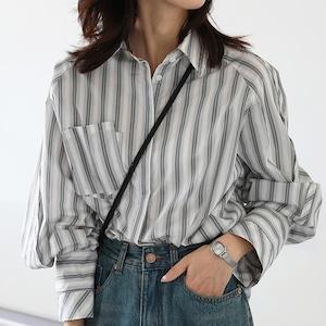 ルーズストライプシャツ ・3079