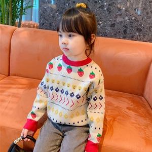 1404子供服 冬 キッズ セーター ニット プルオーバー 女の子 男の子 裏ボア 裏起 防寒 暖かい 子ども イチゴ