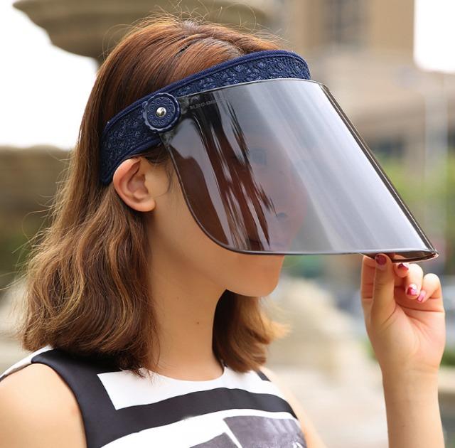 【紫外線対策に☆レースデザイン サンバイザー】 サンバイザー レディース 帽子 日よけ 日焼け対策 UPF50 UVカット フェイスガード フェイスシールド フェイスカバー キャップ つば広 雨よけ 紫外線対策 送料無料