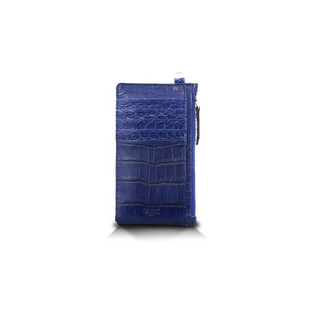 クロコダイル マット カードケース 藍染