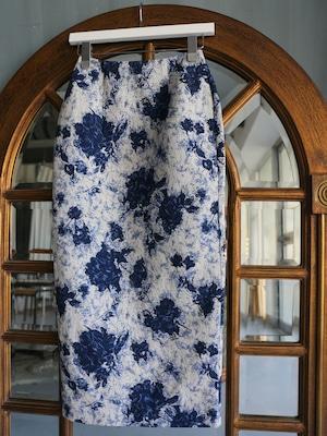 flower jacquard long skirt(blue)