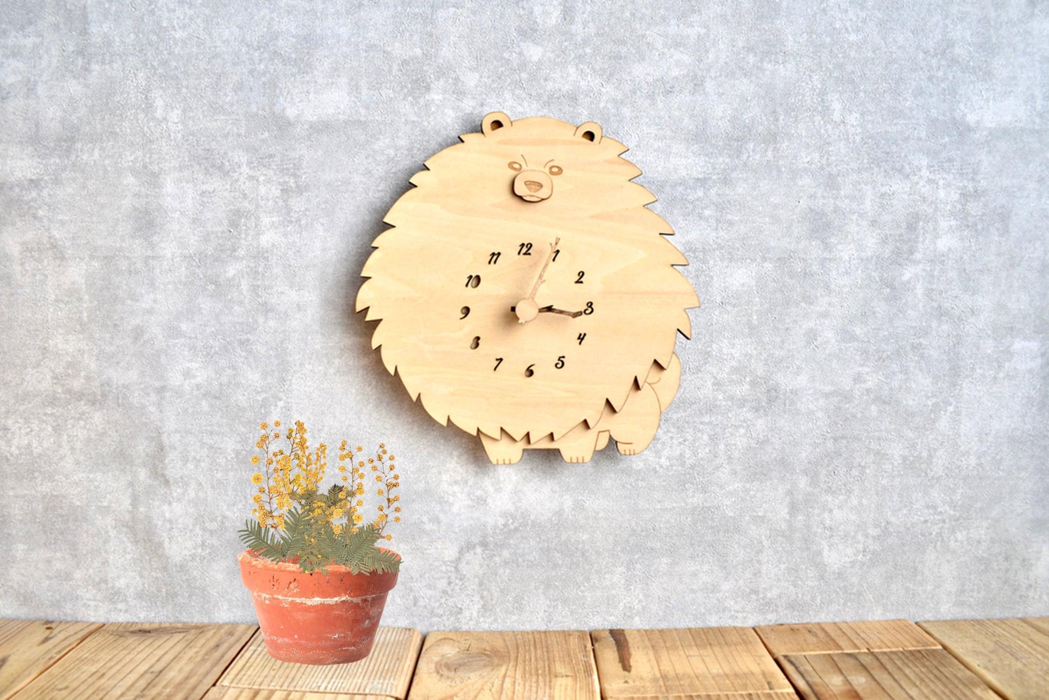 ポメラニアンの時計 木製 掛け時計