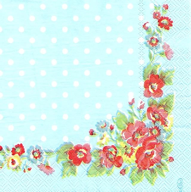 【Cath Kidston】バラ売り1枚 ランチサイズ ペーパーナプキン FOLK FLOWERS ブルー
