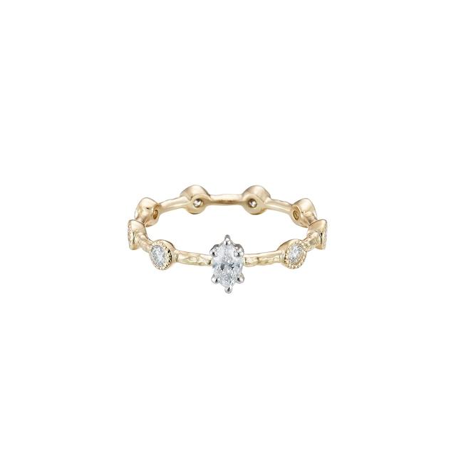 Nine Diamonds Ring with Marquise Diamond / Pt900・K18YG