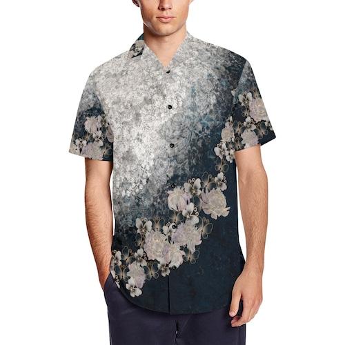 華蝶ブルーホワイト 和柄アロハシャツ