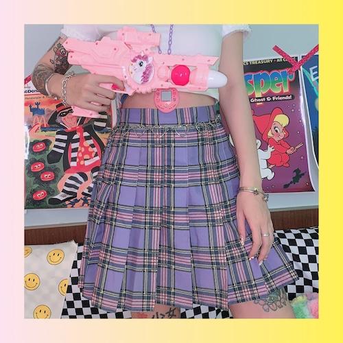 【お取り寄せ】ゆめかわ パープルチェック スカート