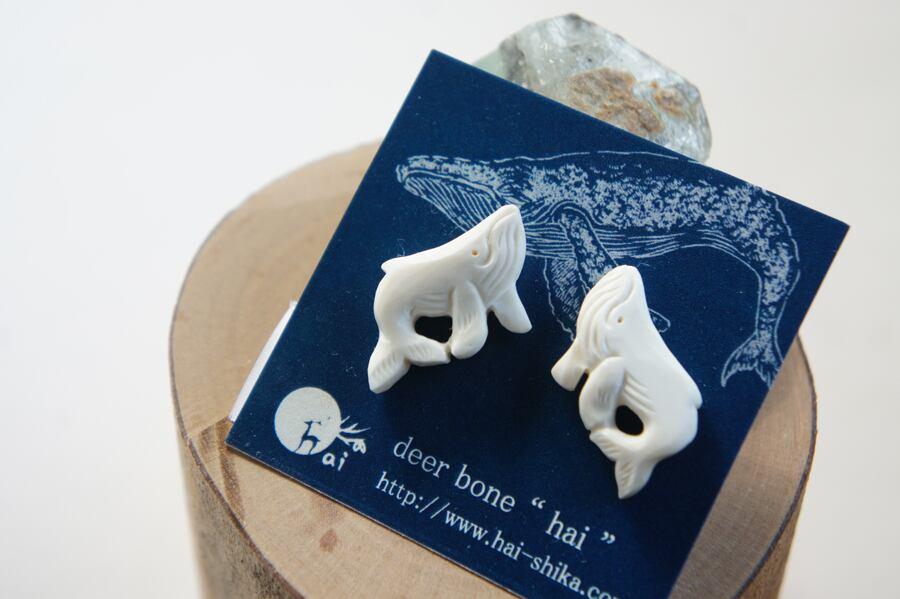「座頭鯨 海の星」座頭鯨のピアス/イヤリング(左右セット)