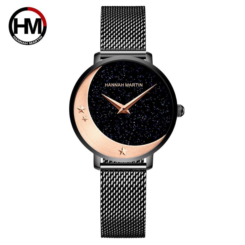 2035クォーツムーブメントステンレススチール腕時計ムーンスター女性のためのナイトフラッシュウォッチ1334H