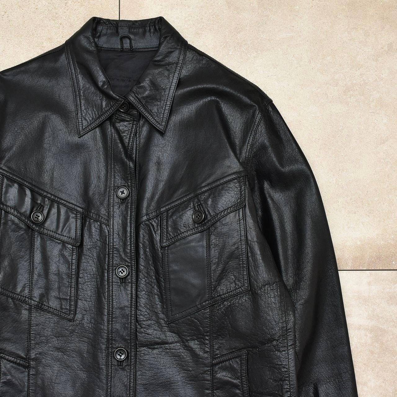 Luster coating black leather shirt jacket