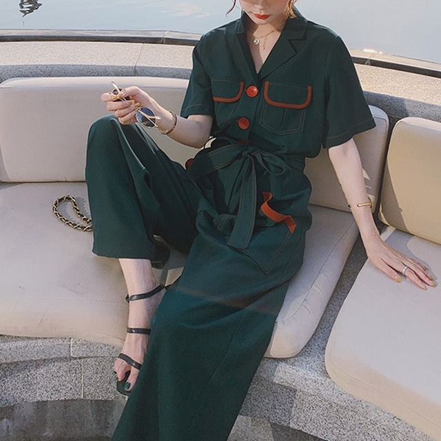 ハイウエストワイドレッグジャンプスーツ 3色 【210390】 大きいサイズあり