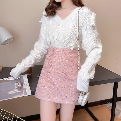 【2点セット】3色/リボンデザインニット+スカート ・18678
