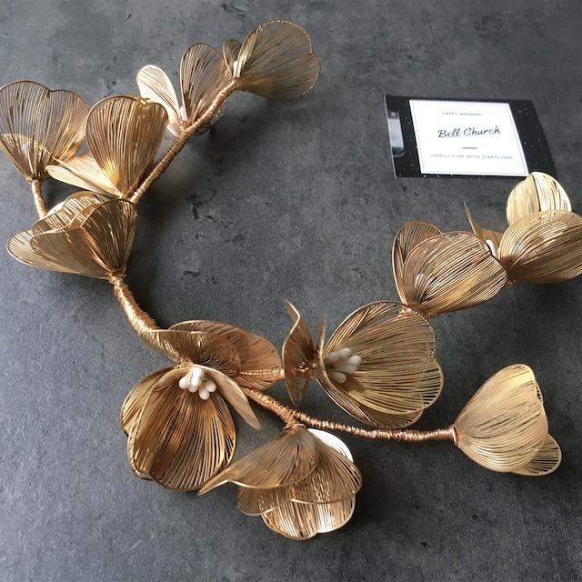 ヘッドドレス お花モチーフ ヴィンテージゴールド (BC-H42)|ウェディングアクセサリー