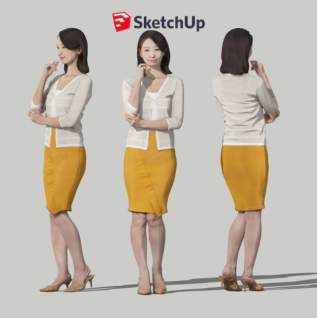 SketchUp素材 3D人物モデル ( Posed ) 097_Aya - メイン画像
