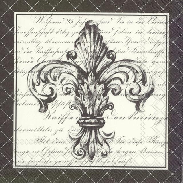 【IHR】バラ売り2枚 ランチサイズ ペーパーナプキン FRENCH FLEUR DE LIS ブラック
