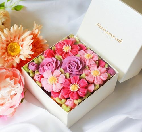 秋のお花【Cosmos Bouquet】食べられるお花のボックスフラワーケーキ