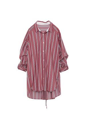 バックスリットプリーツストライプシャツ< bordeaux >