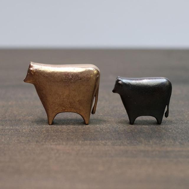 福うし小 十二支【 大寺幸八郎商店 】 肌(ゴールド)、茶、ブラック 置物、干支